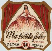 Magnifique Etiquette Liqueur Ma Petite Folie 1930's French Liquor Label - Etiquettes