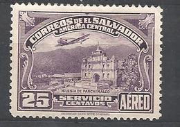 EL SALVADOR     1937 Airmail - Panchimalco Church  MNH