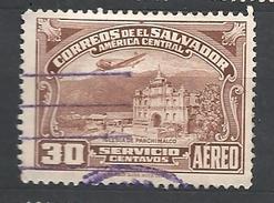 EL SALVADOR     1937 Airmail - Panchimalco Church  USED