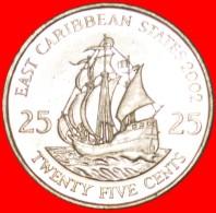 § SHIP Of Sir Francis Drake (1542-1596): EAST CARIBBEAN STATES ★ 25 CENTS 2002! LOW START★ NO RESERVE! - Caraïbes Orientales (Etats Des)