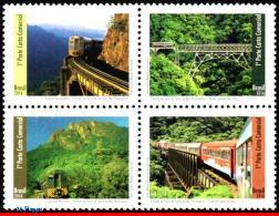 Ref. BR-V2016-12 BRAZIL 2016 RAILWAYS & TRAINS, SERRA DO MAR PARANAENSE, RAILWAY, BRIDGES, SET MNH 4V