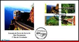 Ref. BR-V2016-12FD BRAZIL 2016 RAILWAYS & TRAINS, SERRA DO MAR PARANAENSE, RAILWAY, BRIDGES, FDC, 4V