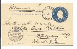 Argentinien P 20 -  6 Ctv Liberty Ganzsachen-Karte Nach Königsberg 1901 Bedarfsverwendet