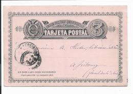 Ecuador P 9 -  3 Ctv Ziffer Ganzsachen-Karte Von Quito Nach Fribourg (CH) 1888 Bedarfsverwendet