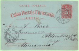 3 Centavos Classic Postal Stationery Card, Chile - Valparaíso → Germany - Altenburg  1900