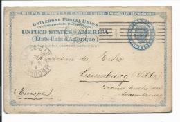 USA UY 2 -  2 Ct  Liberty Doppel-Karte Von Pittsburg Nach Luxemburg 1894 Bedarfsverwendet