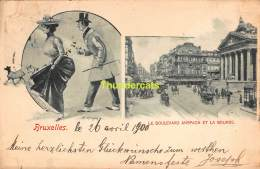 CPA  BRUXELLES 1900  LE BOULEVARD ANSPACH ET LA BORSE - Vervoer (openbaar)