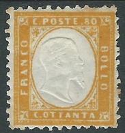 1862 REGNO EFFIGIE 80 CENT MH * - Y171-2