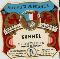 Etiquette De Liqueur: Liqueur Du CouventAUX FUTS DE FRANCE LIUEURS SURFINES KUMMEL - Etiquettes