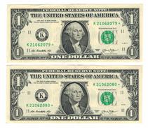 U.S.A. ,2 X  1 Dollar  20013, Star Notes, Consecut. # , AUNC. - Federal Reserve Notes (1928-...)