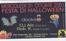 CARD CARTONCINO PUBBLICITARIO FESTA DI HALLOWEEN  ZUCCHE PIPISTRELLO DRAGO 2 SCANNER     -2-0882-26184 - Halloween