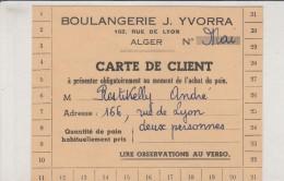 ALGER - Boulangerie J.Yvorra  Carte De Client