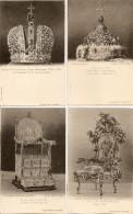 4 Cartes, Tsar Ivan III Trône, Tsar Ivan V Couronne, Impératrice Anne Couronne, Impératrice Elisabeth Trône(croix Rouge) - Russie