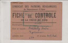 ALGER - Syndicat Des Patrons Boulangers Du Département D'Alger
