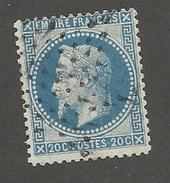 FRANCE - N°YT 29B OBLITERE AVEC ETOILE DE PARIS ET VARIETE DE PIQUAGE SUR FILET NORD - COTE YT : 3€ - 1868