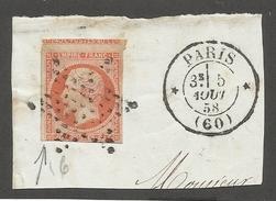 FRANCE - N°YT 16 OBLITERE SUR FRAGMENT AVEC ETOILE DE PARIS ET CAD PARIS DU 05/08/1858 ET DEBUT VOISIN NORD