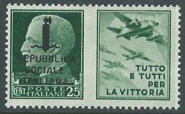 1944 RSI PROPAGANDA DI GUERRA 25 CENT MNH ** - CZ41-10 - 4. 1944-45 Repubblica Sociale