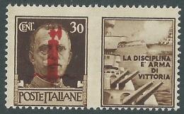 1944 RSI PROPAGANDA DI GUERRA 30 CENT MH * - CZ41-2 - Kriegspropaganda