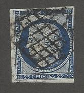 FRANCE - N°YT 4 OBLITERE GRILLE - COTE YT : 60€ - 1850