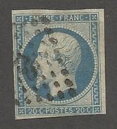 FRANCE - N°YT 14A OBLITERE PC 738? BLEU LAITEUX? - COTE YT : 2€ - 1854