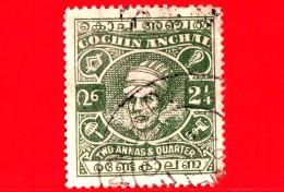 India - Cochin Anchal - Usato - 1943-44 - Maharaja Sri Kerala Varma II - Sovrastampato - 2.1/4 - Cochin