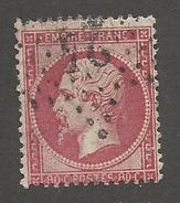 FRANCE - N°YT 24 OBLITERE ETOILE DE PARIS 24 ET LEGER PIQUAGE A CHEVAL NORD/SUD - COTE YT : 60€ - 1862