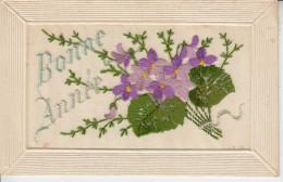 Bonne Année - Carte Brodée Avec Fleurs PRIX FIXE - Brodées