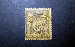 FRANCE 1878 N°93 OBL. (SAGE N/U. 35C VIOLET-GRIS SUR JAUNE. TYPE II)