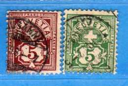 SUISSE°-1894-1899 - ZUM.60B-65B  / MI.52Y-53Y .  2 Scan. Cat. Zum. 2016  CHF.2,00.    Vedi Descrizione