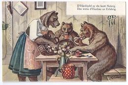 Künstler-AK Gehri: Bärenfamilie Beim Nachtessen Mit Kartoffeln ~1910 - Ours
