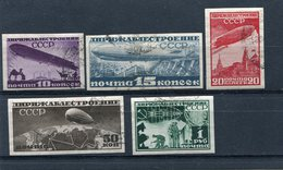 RUSSIA YR.1932,SC C15-19,MI 397-401C,USED,ZEPPELIN S AND AIRSHIPS