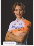 Women Cycling Card THALITA DE JONG Team RABO LIV 2016 Netherlands
