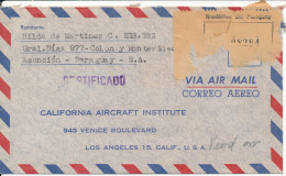Paraguay Registered Air Mail Cover Sent To USA 1962 All The Stamps Are On The Backside Of The Cover - Paraguay