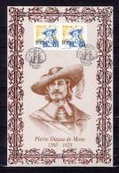 FRANCE / CANADA 2004 : Encart 1er Jour N°té / Soie Rare (277/500) Edit° A.M.I.S. : P. DUGUA DE MONS. 2 X N° YT 3678. FDC - Emissions Communes