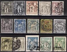 FRANCE 1876 / 1890 - LOT 15 TP DIVERS - OBLITERES - FD55