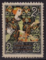 WOMAN Art Nouveau / Družba Sv. Cirila In Metoda / SLOVENIA Ljubljana / Charity Label Cinderella Vignette - Slovenia