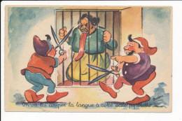 Carte Humoristique Dessin Illustrateur  Budou  Langue De Vipère Potinière Langue Trop Longue ( Recto Verso ) - Autres Illustrateurs