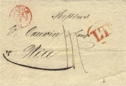 1843 - Lettre De ZURICH  Pour Nice -transit Milan L T  Rouge Taxe 14  - Au Dos Arrivée Nice 30.MAR. Rouge - ...-1845 Prefilatelia