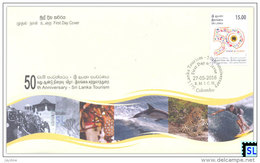Sri Lanka Stamps 2016, Tourism 50th Anniversary, Cricket, Bike, Elephant, Boat, FDC - Sri Lanka (Ceylon) (1948-...)