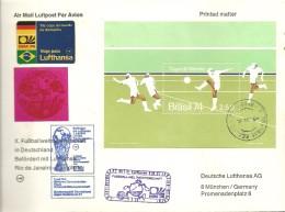 FDC BRASIL  FIRST FLIGHT - Coppa Del Mondo