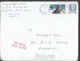 USA Airmail 1988 45c Harvey Cushing, 1991 Harriet Quimby Pioneer Pilot Postal History Cover Sent To Pakistan. - Brieven En Documenten