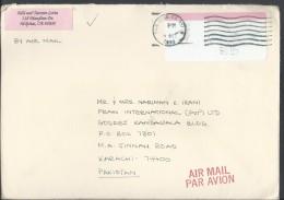 USA Airmail 1993 Postage Label, Postage Sticker Postal History Cover Sent To Pakistan. - Brieven En Documenten