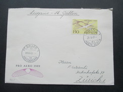 Schweiz 1949 Nr. 518 EF Pro Aero 1949. Lugano Posta Aerea - St. Gallen. Stempel Vom 2. Ausgabetag! - Briefe U. Dokumente