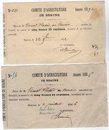 VP6001 - Reçu Du Comité D'Agriculture De BEAUNE - Mr VIENNOT à LEVERNOIS - Collections