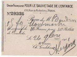 VP6001 - Reçu - Billet De Tombola De L'Union Française Pour Le Sauvetage De L'Enfance à PARIS - Lottery Tickets
