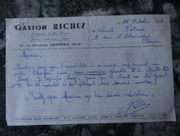 """Louvroil  Nord """" Gaston Richez """"Specialiste Du Beau Vetement 1953 - Textile & Vestimentaire"""