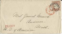 REICH - 1872 - RARE YVERT N°18 SEUL Sur ENVELOPPE De THARANT Pour Les USA