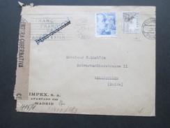 Spanien - Schweiz 1943 Zensur Der Wehrmacht. Zensurbeleg. Geöffnet / Geprüft. Franco. Censura Gubernativa Madrid.Airmail - 1931-50 Briefe U. Dokumente
