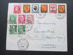 Frankreich 1948 Buntfrankatur Mit 11 Marken!! Nach Bern! Interessanter Beleg - France