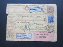 Italien 1911 Paketkarte Klebezettel: Italien über Pontafel Zollgut Zu Stellen In Itzkany. Ufizio Italiano Di Uscita - Paketmarken